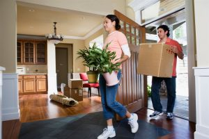 a man and a girl moving plants and carton inside the house | GC Home Inspection | Door Pearland